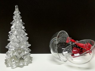 Merry Christmas and Happy New Year, white clear Xmas tree and hanging ball decoration