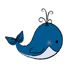 whale cute cartoon vector illustration icon graphic design
