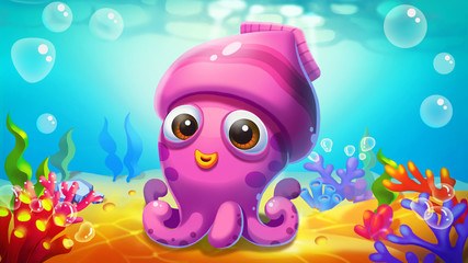 Little Squid in the Sea! Video Game's Digital CG Artwork, Concept Illustration, Realistic Cartoon Style Background and Character Design