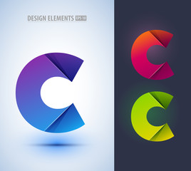 Set of abstract letter C collection. Can be used for corporate identity, application icon, beauty salon logotype, different logo sign designs. Origami paper style
