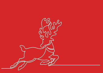 continuous line drawing of Rudolph the rednosed reindeer