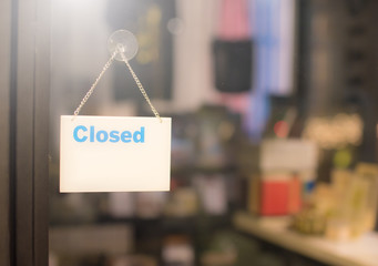Closed sign in a shop showroom