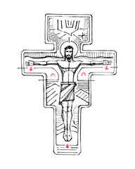 Jesus Christ at the Cross and religious symbols