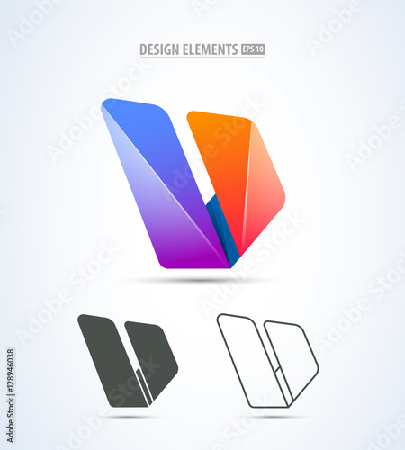 Vector abstract corporate identity logo sign design  Letter