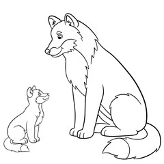 Coloring pages. Father wolf with his little baby.