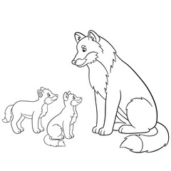 Coloring pages. Father wolf with his little babies.