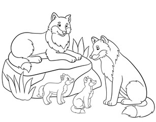 Coloring pages. Mother and father wolves with their babies.