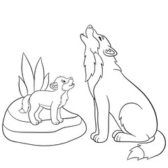 Coloring pages. Father wolf howls with his little baby.
