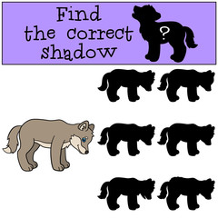 Educational game: Find the correct shadow. Little cute baby wolf