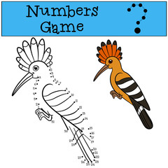 Educational game: Numbers game. Cute beautiful hoopoe sits.