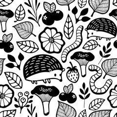 Seamless pattern with small forest animals and insect.