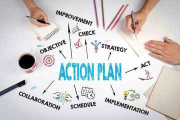 Action Plan Concept. The meeting at the white office table Wall mural