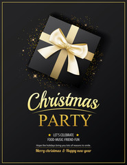 Invitation merry christmas party poster banner and card design