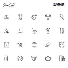 Summer flat icon set.