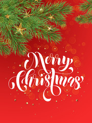 Decoration ornament red background Merry Christmas greeting card