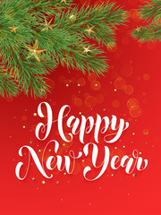 Decoration ornament red background Happy New Year greeting card