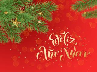 Spanish New Year Feliz Ano Nuovo greeting card decoration background