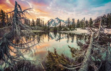 mt. Shuksan with reflection on picture lake,Washington,usa.