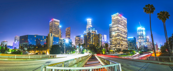 scenic view in freeway in downtown Los angeles at night,California.