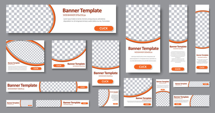 Templates web banners in standard sizes with space for photo