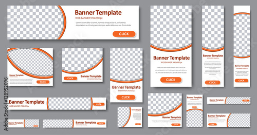 Wall mural Templates web banners in standard sizes with space for photo