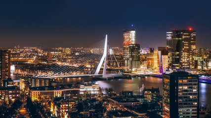 Rotterdam night in holland