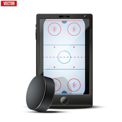 Smartphone with ice hockey puck and field on the screen. Sports theme and applications. Vector illustration Isolated on white background.