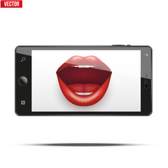 Smartphone with women's lips on the screen. Concept of selfie. Editable Vector Illustration isolated on white background.