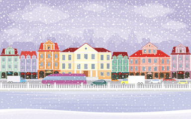 The image of a winter city. Snow-covered streets with small old houses. Vector illustration