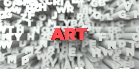 ART -  Red text on typography background - 3D rendered royalty free stock image. This image can be used for an online website banner ad or a print postcard.