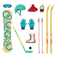 Winter sport different accessories snowboard, cross-country skii