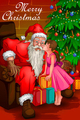 Santa Claus in Merry Christmas holiday background