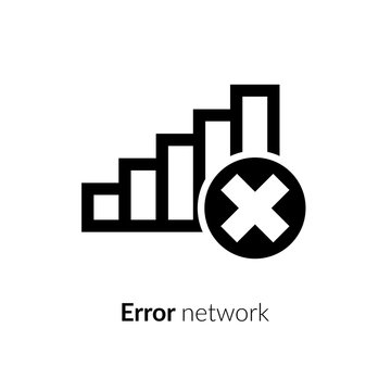 Wi-Fi error, wrong, incorrect, disconnect, bad antenna, not available, no signal stop symbol with network, connect, internet Wi-Fi, WLAN, black icon on white background for computer , mobile interface