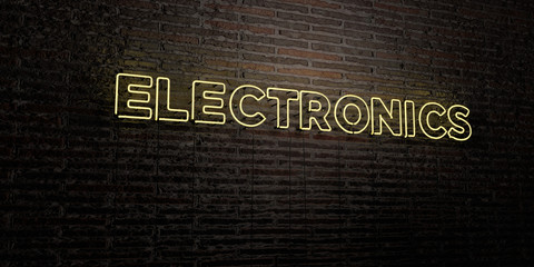 ELECTRONICS -Realistic Neon Sign on Brick Wall background - 3D rendered royalty free stock image. Can be used for online banner ads and direct mailers..