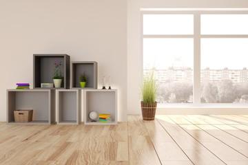 White room with modern furniture and urban landscape in window. Scandinavian interior design