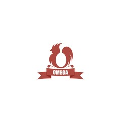Chicken or Rooster or Cock Silhouette Logo with egg shape creating Omega symbol