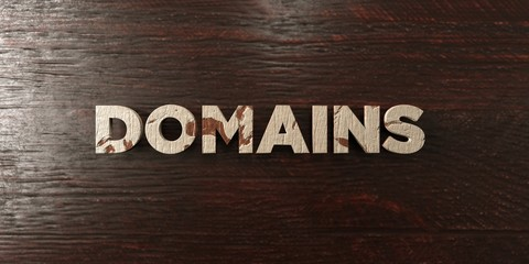 Domains - grungy wooden headline on Maple  - 3D rendered royalty free stock image. This image can be used for an online website banner ad or a print postcard.