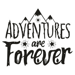 Vector illustration with lettering quote - mountains, pine trees, stars with rays