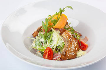 Salad with fried Pike perch