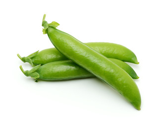 Pods of green peas isolated on the white background