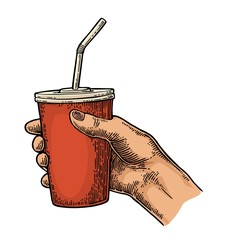 Female hand holding paper red cup cola with straws, cap.