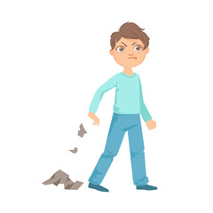 Boy Littering Teenage Bully Demonstrating Mischievous Uncontrollable Delinquent Behavior Cartoon Illustration