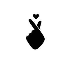 Korean Sign icon symbol hand shape heart charityVector seamless pattern a message of love hand gesture. Sign icon stylized for the web and print. The hand folded into a heart symbol.