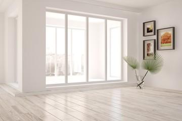 White empty room with urban landscape in window. Scandinavian interior design