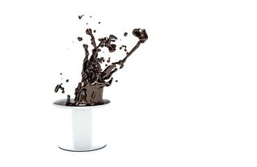 splashes of hot chocolate on white background 3d illustration