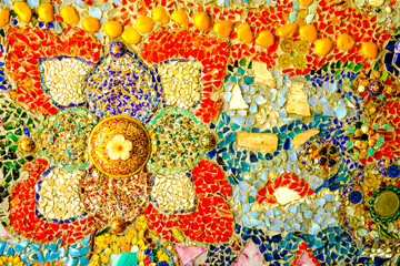 Colorful mosaic pattern background. Made from ceramic of Thai at Wat Phasornkaew in Thailand. Photo taken on: 29 November , 2016