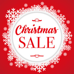 Christmas Sale graphic with red background and snowflakes. Can be used for prints, posters, emails, price tags and others.