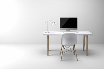 Minimalist modern working space in white room