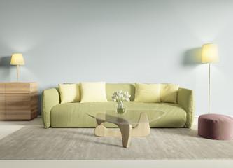 Contemporary modern interior with lime sofa