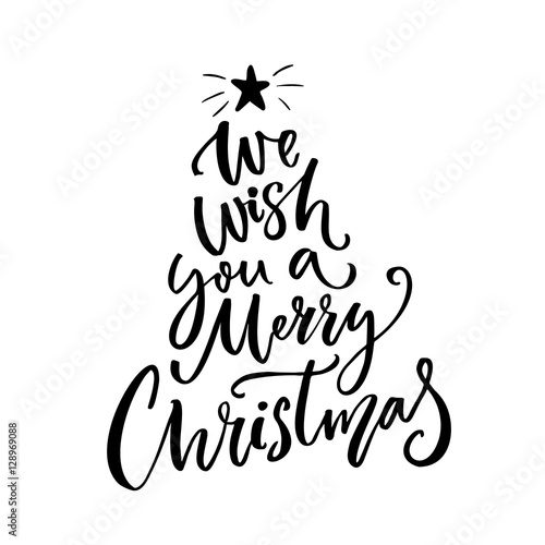 we wish you a merry christmas typography greeting card text brush vector for gift - Christmas Overlays